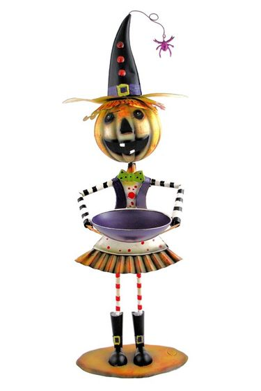Festive Witch Jack-O-Lantern Metal Statue - Click to enlarge