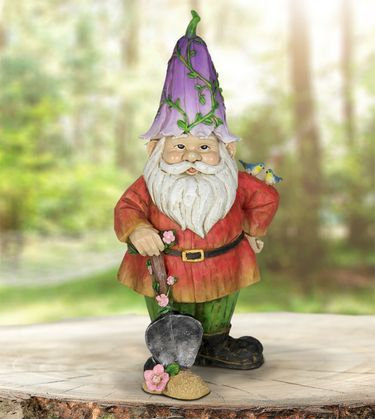 Flower Cap Gnome w/Shovel - Click to enlarge
