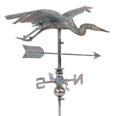 Flying Crane Weathervane - Copper Patina - Click to enlarge