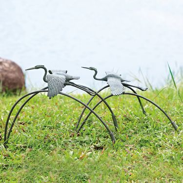 Flying Cranes & Reeds Garden Sculpture (Set of 2) - Click to enlarge