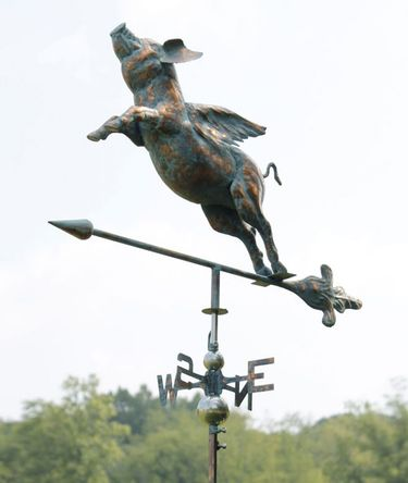 Flying Pig Weathervane - Copper Patina - Click to enlarge