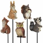 Forest Animal Plant Stakes (Set of 5)