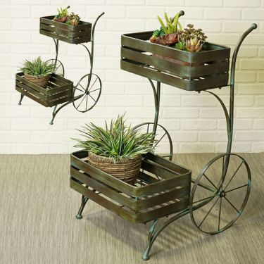 French Basket Flower Carts (Set of 2) - Click to enlarge