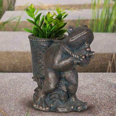 Frog Basket Flower Pot - Bronze Finish - Click to enlarge