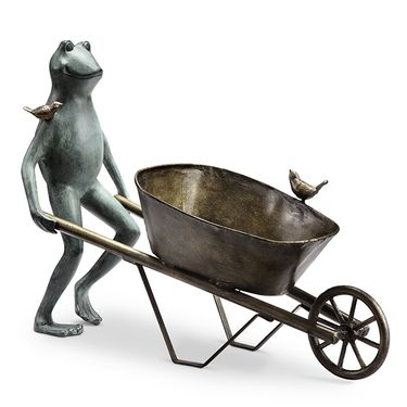 Frog & Bird Wheelbarrow Planter - Click to enlarge