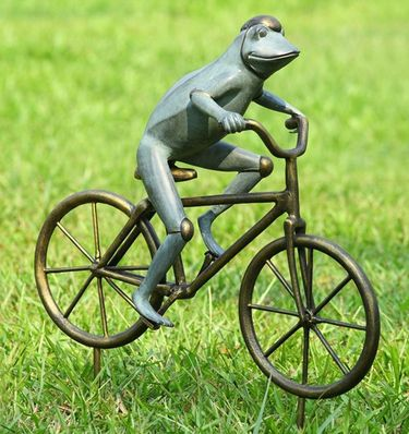 Frog on Bicycle Garden Sculpture - Click to enlarge