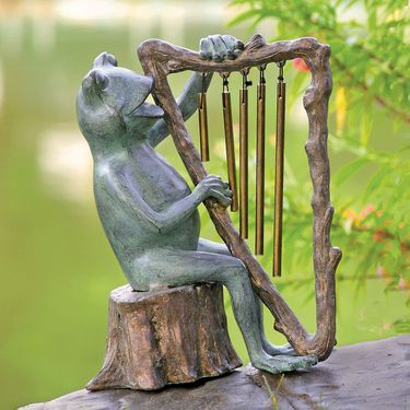 Frog w/Harp Chime Garden Statue - Click to enlarge