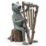 Frog w/Harp Chime Garden Statue