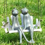 Frogs on Porch Swing Garden Sculpture