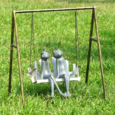 Frogs on Porch Swing Garden Sculpture - Click to enlarge