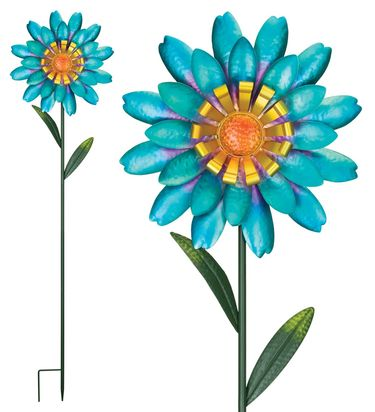 Funky Blue Flower Garden Stakes (Set of 2) - Click to enlarge