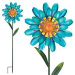 Funky Blue Flower Garden Stakes (Set of 2)