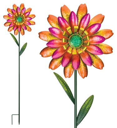 Funky Orange Flower Garden Stakes (Set of 2) - Click to enlarge