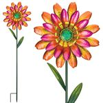 Funky Orange Flower Garden Stakes (Set of 2)