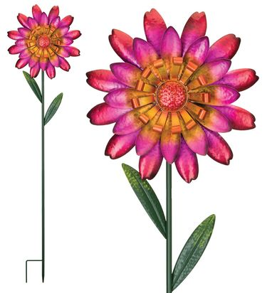 Funky Red Flower Garden Stakes (Set of 2) - Click to enlarge