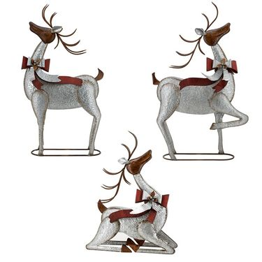 Galvanized Christmas Reindeer (Set of 3) - Click to enlarge