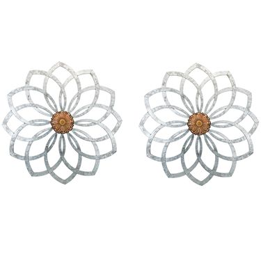 Galvanized Lotus Wall Decor (Set of 2) - Click to enlarge