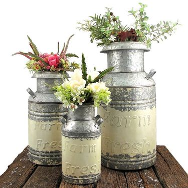 Galvanized Old Style Milk Jugs (Set of 3) - Cream - Click to enlarge