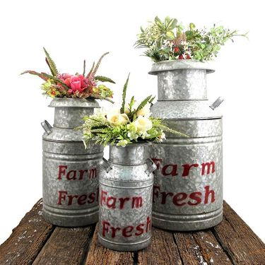 Galvanized Old Style Milk Jugs (Set of 3) - Red - Click to enlarge