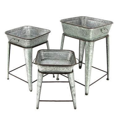 Galvanized Raised Plant Stands (Set of 3) - Click to enlarge