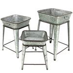 Galvanized Raised Plant Stands (Set of 3)