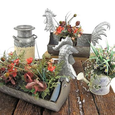 Galvanized Rooster Planters (Set of 2) - Click to enlarge