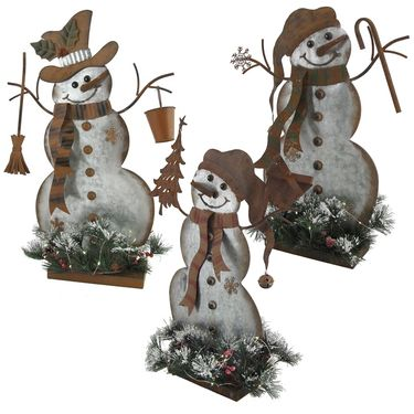 Galvanized Snowmen w/LED Pines (Set of 3) - Click to enlarge