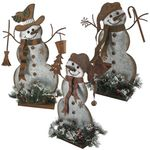 Galvanized Snowmen w/LED Pines (Set of 3)