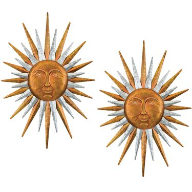 Galvanized Sun Wall Decor (Set of 2) - Click to enlarge