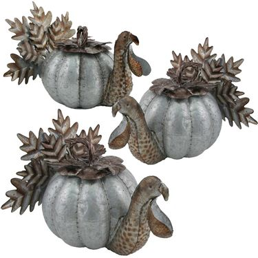 Galvanized Turkey Pumpkins (Set of 3) - Click to enlarge