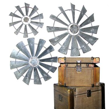 Galvanized Windmill Wall Decor (Set of 3) - Click to enlarge