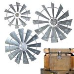 Galvanized Windmill Wall Decor (Set of 3)
