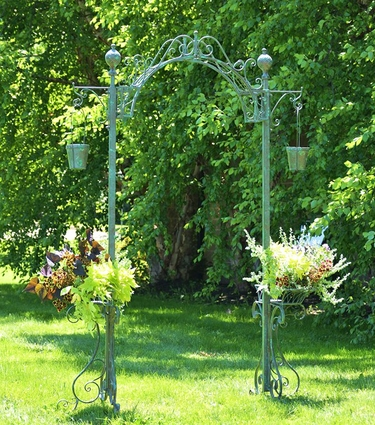 Garden Arch w/Hanging Buckets - Antique Green - Click to enlarge