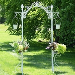 Garden Arch w/Hanging Buckets - Antique White