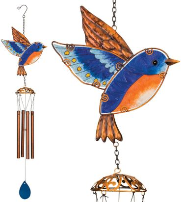 Garden Bluebird Wind Chimes (Set of 2) - Click to enlarge