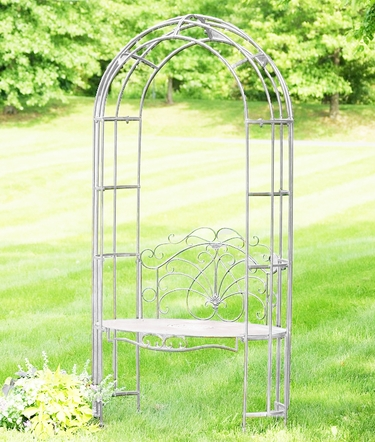 Garden Iron Arbor Archway w/Bench - Antique White - Click to enlarge