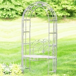 Garden Iron Arbor Archway w/Bench - Antique White
