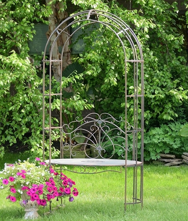 Garden Iron Arbor Archway w/Bench - Bronze - Click to enlarge