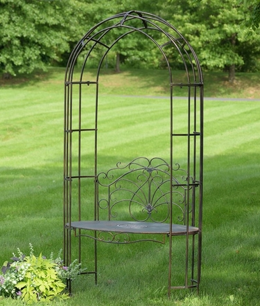 Garden Iron Arbor Archway w/Bench - Grey - Click to enlarge