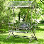 Garden Swing Bench w/Antique White Finish