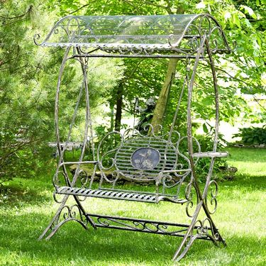 Garden Swing Bench w/Antique White Finish - Click to enlarge