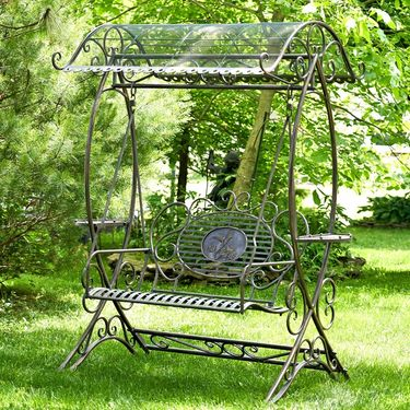 Garden Swing Bench w/Copper Brown Finish - Click to enlarge