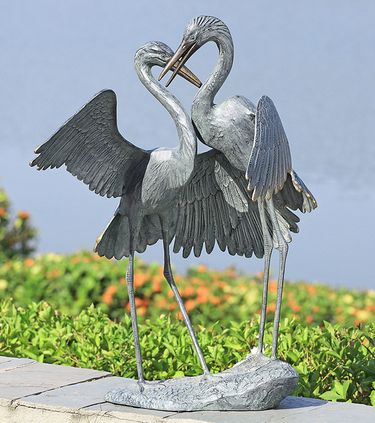 Gentle Embracing Cranes Garden Sculpture - Click to enlarge