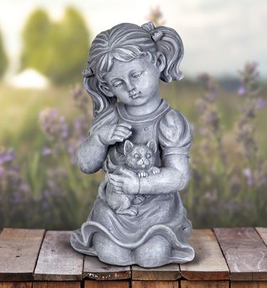 Girl with Kitten Statue - Click to enlarge