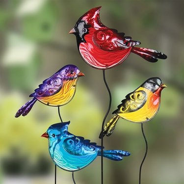 Glass Bird Garden Stakes (Set of 4) - Click to enlarge