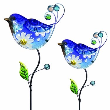 Glass Blue Bird Flower Body Stakes (Set of 2) - Click to enlarge
