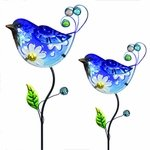 Glass Blue Bird Flower Body Stakes (Set of 2)