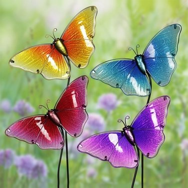 Glass Butterfly Garden Stakes (Set of 4) - Click to enlarge