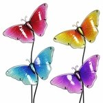 Glass Butterfly Garden Stakes (Set of 4)