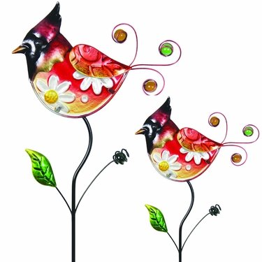 Glass Cardinal Flower Body Stakes (Set of 2) - Click to enlarge